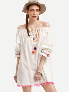 Vestido hombro al aire bordado holgado -beige-Spanish SheIn(Sheinside) Sitio Móvil