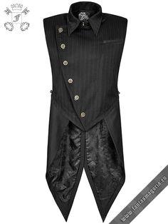Embellished Asymmetric Vest Waistcoat Gothic Dandy Victorian Chains PunkRave Men