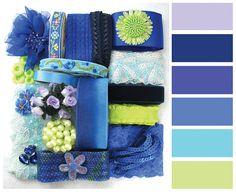 Blue Fishie Color Palette Craft Pack|DIY Supply|Ribbon|Trimmings|Set|Scrapbook materials|Scrapbooking