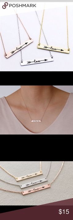 """Silver or Gold Love Necklace Sterling silver or gold plated stainless steel necklaces. Chain is 17"""" Jewelry Necklaces"""