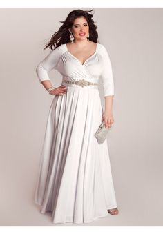 Off-the-Shoulder Plus Size Wedding Gown with Sleeves PS104 ...