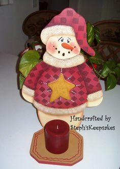 Handpainted Snowman CandleholderWinter Home by stephskeepsakes, $23.95