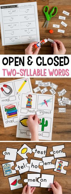 Open and Closed Syllable Practice for Two-Syllable Words has over 12 different activities and games to use during small group reading. All the games and activities focus on students reading and breaking apart two-syllable words. This unit focuses on sylla