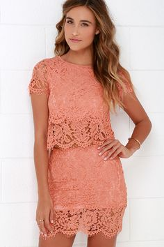 You'll fondly reminisce on all the good times you've had in the Turn Back Time Peach Lace Two-Piece Dress! Peach lace shapes a cute crop top and matching sheath skirt. Orange Cocktail Dresses, Long Cocktail Dress, Sheer Lace Dress, Lace Overlay Dress, Lace Tee, Long Sleeve Short Dress, Short Sleeves, Two Piece Dress, Cute Dresses