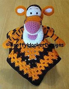 Ravelry: Tigger Lovey Blankie pattern by Knotty Hooker Designs Crochet Security Blanket, Crochet Lovey, Crochet Baby Toys, Crochet Beanie, Cute Crochet, Crochet For Kids, Crochet Yarn, Crochet Hooks, Crochet Blankets