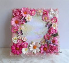 """Mini Album Cover Topper Floral Decorative Mulberry Flower Front Cover 7 x 7"""""""