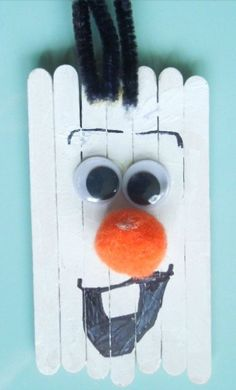 This isn't just any snowman. This is Olaf, everyone's favorite melting snowman who loves the summer! Make an Olaf-inspired Snowman Craft so you never to worry about him melting in the warmer months again. These snowman craft ideas are as lovable as O Popsicle Stick Crafts, Craft Stick Crafts, Crafts To Make, Easy Crafts, Crafts For Kids, Popsicle Sticks, Craft Ideas, Holiday Activities, Holiday Crafts