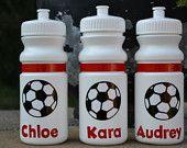 Personalized 20 oz. white soccer sports bottle