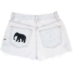Tribal/Aztec Elephant and Waves Shorts, Hand Painted, Vintage... (£76) ❤ liked on Polyvore featuring shorts, pants - shorts, cut-off jean shorts, ripped denim shorts, vintage high waisted shorts, high-waisted denim shorts and high-waisted cut-off shorts