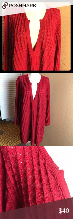 "Calvin Klein Women's XL Sweater or Dress Red EUC!! Put a cool belt around this sweater/dress for an awesome fashion statement!! Throw on some boots and you are all set! Gorgeous stitching makes this sweater and/or dress so appealing! V-neck, 3/4 sleeves and the long length let's you decide how to wear it! Chest 26"", Length 35"", Sleeve 21"". Calvin Klein Sweaters"