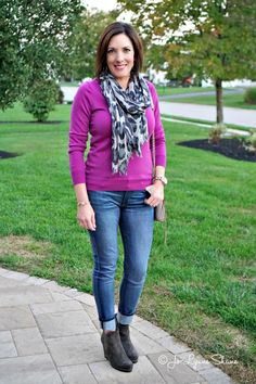 Fashion Over 40: Grey + Fuscia The bold fuscia is  gorgeous and pairs well with black and grey, making it the perfect canvas for this grey animal print scarf. Plus, these STUNNING VANELi suede wedge booties from @marmishoesusa! Click through for more fashion tips and ideas! Jo Lynne Shane