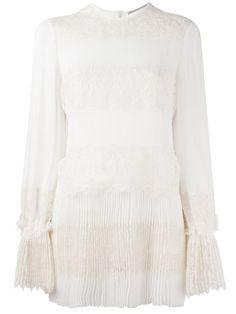 ERMANNO SCERVINO Lace Panel Pleated Blouse. #ermannoscervino #cloth #blouse