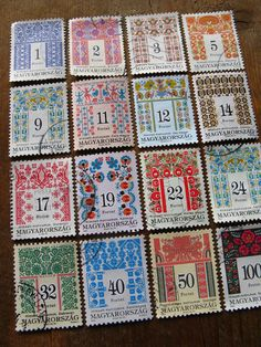 vintage folk postage stamps from Hungary