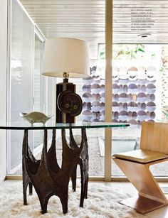 Mid Century Modern furniture and lamp - love the wood and glass, but not the metal....