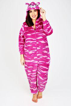 Pink Printed Fleece Onesie With Novelty Cat Hood
