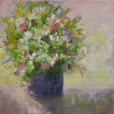 """Contemporary Artists of Colorado: Still Life Floral Painting, Flower Art""""In Pink"""" by Western Colorado Artist Barbara Churchley"""