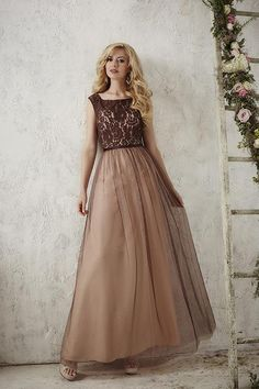 Balletts Bridal - 22919 - Bridesmaids by Jacquelin Bridals Canada - You will look phenomenal in this long tulle skirt and lace top with a thin satin waistband. The straps to this dress tie in the back, forming a keyhole back. Pictured In: Espresso/Espresso/Blush Pink