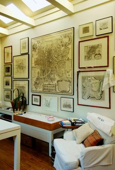 Collection of maps and drawings. Love how this is put together.   #decorating_with_maps