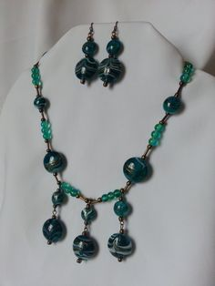 Aquamarine glass beaded necklace by CreationsbyJF on Etsy