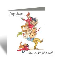On the move Card- New home card - Camilla & Rose Blank Greeting Card Funny Birthday Cards, Birthday Greeting Cards, Funny Cards For Friends, Camilla Rose, Brown Envelopes, Red Envelope, Two Best Friends, House Of Cards, Watercolor Cards