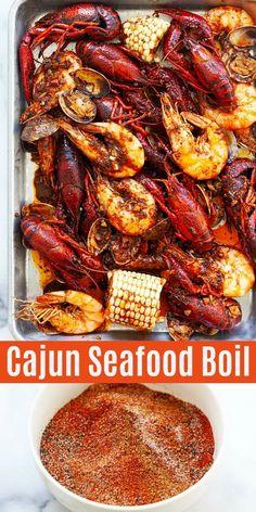 Seafood Boil (with Cajun Butter Sauce!!) - Rasa Malaysia Cajun Seafood Boil, Seafood Boil Party, Louisiana Seafood, Seafood Seasoning, Seafood Dinner, Louisiana Crawfish Boil Recipe, Seafood Boil Seasoning Recipe, Shrimp And Crab Boil, Gourmet