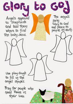 Angels and Shepherds Nativity Play Dough Mat
