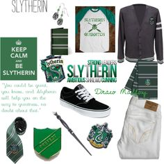 Slytherin, created by fearlessbeliever on Polyvore Harry Potter Dress Up, Harry Potter Style, Harry Potter Outfits, Slytherin Pride, Slytherin Aesthetic, Hogwarts, Fandom Outfits, New Outfits, Inspired Outfits