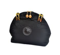 Gianni Versace Medusa Head Nylon Shoulder Bag Tote Black / Vintage / FREE SHIPPING by MySunnyStore on Etsy