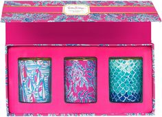 Lilly Pulitzer - Votive Candle Set Our motto: one print is never enough. We're sure you agree. Bring your favorite prints home with this set of three votive candles. Keep the lights low and style high