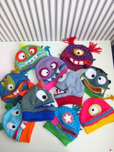 Hats - Monster Naughty HAT of your choice - a unique pro Diy Projects For Kids, Diy For Kids, Sewing Projects, Fleece Hats, Decorative Beads, Baby Girl Dresses, Drawing For Kids, Sewing Clothes, Spring Crafts