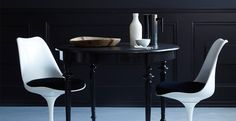 Mix with modern and vintage interior Dining Area, Dining Chairs, Dining Table, Dining Room, Best Interior, Interior Design, New Paint Colors, Tulip Chair, Black And White Interior