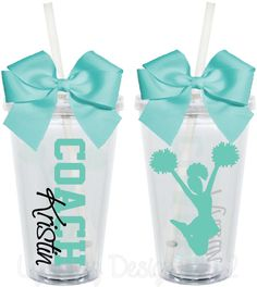 Cheer Coach Cups Teacher Appreciation 16oz Personalized Acrylic Tumbler. $15.00, via Etsy.