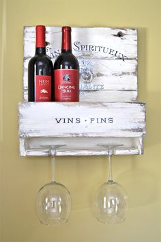 Couple's Wine Rack. small cute reclaimed wood 4 by Anniesimages
