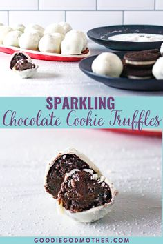 Grab a package of your favorite chocolate sandwich cookie, plus 3 more ingredients, and you'll have your own beautiful batch of sparkling chocolate cookie truffles in no time! #cookietruffles #easydessert #nobake Dessert Cake Recipes, Candy Recipes, Easy Desserts, Delicious Desserts, Yummy Food, Oreo Truffles Recipe, Sandwich Cookies, No Bake Treats, Yummy Cakes