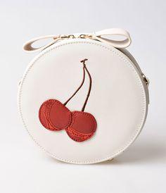 Retro Handbags, Purses, Wallets, Bags Unique Vintage Cream  Red Cherry Leatherette Round Shoulder Bag $48.00 AT vintagedancer.com