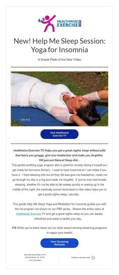 Help Me Sleep Session: Yoga for Insomnia Natural Sleep Aids, Sleeping Pills, Great Night, Insomnia, Help Me, Fitness Online, Exercise, Yoga, News