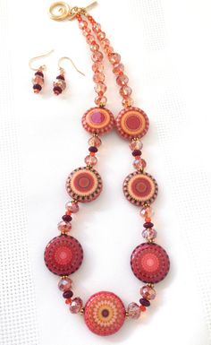 Red Orange Beaded Necklace and Earrings Set by SRyanJewelryDesigns