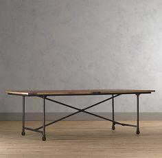 "FLATIRON DINING TABLE. Restorationhardware.com. antique solid reclaimed elm doors and cast metal. 72"" Table seats up to 6  92"" Table seats up to 8  112"" Table seats up to 10. $675 - $1100"