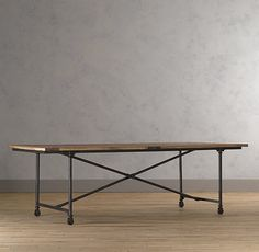 "FLATIRON DINING TABLE. Restorationhardware.com. antique solid reclaimed elm doors and cast metal. 72"" Table seats up to 6  92"" Table seats up to 8  112"" Table seats up to 10. $675 - $1100"
