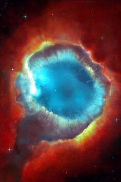 """Helix Nebula-""""Eye of the Cosmos"""". The two light-year diameter shroud of dust and gas around a central white dwarf has long been considered an excellent example of a planetary nebula, representing the final stages in the evolution of a sun-like star Helix Nebula, Planetary Nebula, Orion Nebula, Carina Nebula, Andromeda Galaxy, Cosmos, Hubble Space, Space And Astronomy, Space Telescope"""