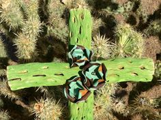 Hold For Kent - Cholla Wood Cross - Sacred works of the High Desert - Original Art / Cathy DeLeRee