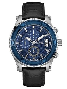 Blue, Black and Silver-Tone Chronograph Dress Watch at Guess Smartwatch, Cool Watches, Guess Watches, Men's Watches, Luxury Watches For Men, Stainless Steel Watch, Watch Brands, Chronograph, Jewelry Watches