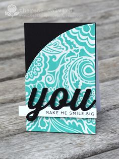 Lostinpaper - You make me smile big card. Coloured texture paste and stencil