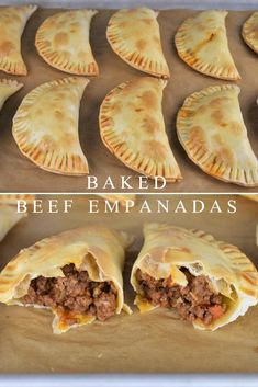 These beef empanadas are baked not fried and feature an easy-to-make ground beef. - These beef empanadas are baked not fried and feature an easy-to-make ground beef filing. Beef Steak Recipes, Beef Recipes For Dinner, Mexican Food Recipes, Cooking Recipes, Quick Ground Beef Recipes, Beef Meals, Chicken Recipes, Recepies With Ground Beef, Meals To Make With Ground Beef
