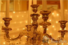 Candelabras are ideal as centre pieces and would look great in a Grecian themed wedding.