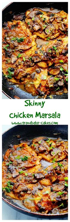 Deliciously satisfying Skinny Chicken Marsala lightened up on fat but definitely not flavor. ~ http://www.grandbaby-cakes.com