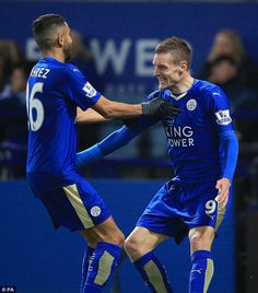 Riyad Mahrez (left) and Jamie Vardy have been instrumental in Leicester City's stunning form this season