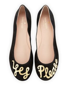 """willow """"yes please"""" ballerina flat, black by kate spade new york at Neiman Marcus."""