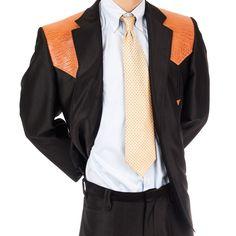 Vtg Country Western Rockabilly Suit 2 pc 46R Faux Gator Blazer Pants VLV Shiny #WestLine #MensSuit #SomeLikeItUsed
