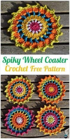 Crochet Spiky Wheel Coaster FreePattern- #Crochet; Coasters Free Patterns